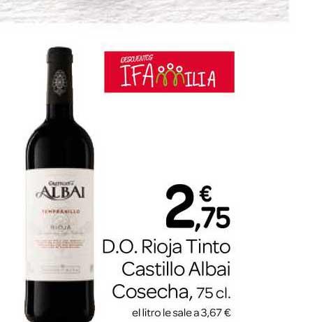 Supermercados El Jamón D.O. Rioja Tinto Castillo Albai Cosecha 75cl