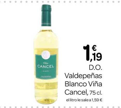 Supermercados El Jamón D.O. Valdepeñas Blanco Viña Cancel 75 Cl