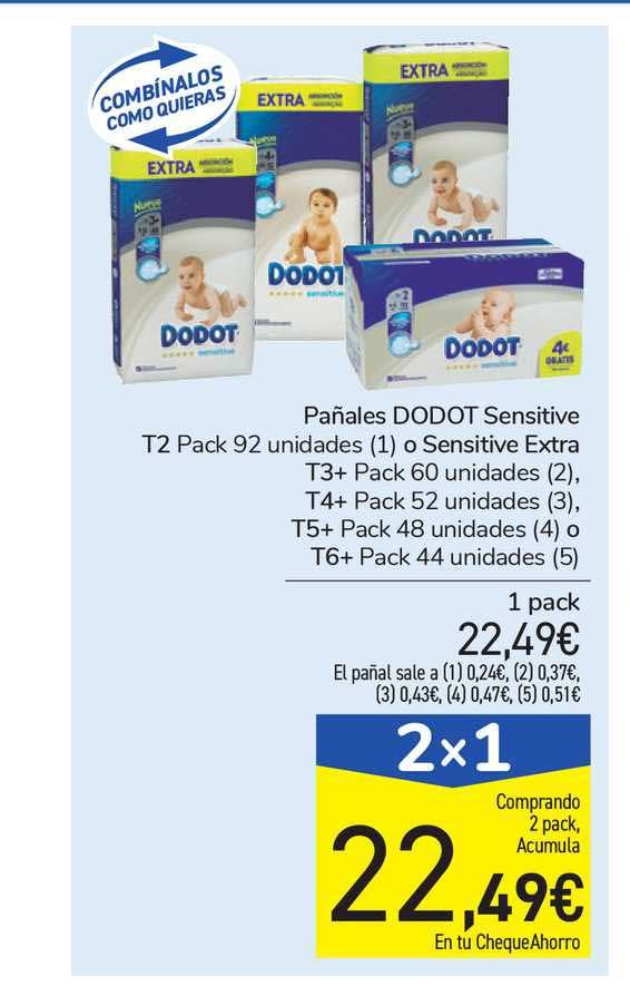 Carrefour 2x1 Pañales Dodot Sensitive T2 O Sensitive Extra T3, T4, T5 O T6