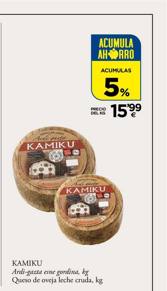 BM Supermercados 5% Kamiku Queso De Oveja Leche Cruda, Kg