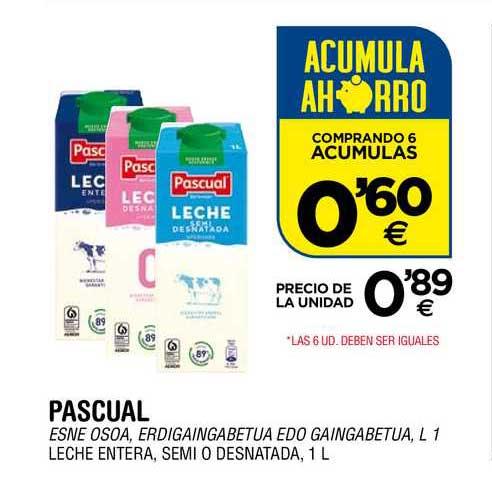 BM Supermercados Pascual Leche Entera, Semi O Desnatada, 1 L