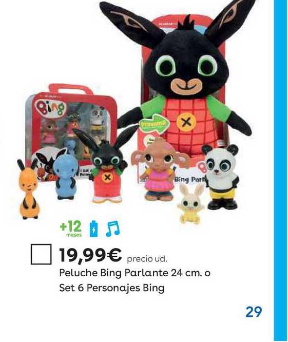 ToysRUs Peluche Bing Parlante 24 Cm. O Set 6 Personajes Bing