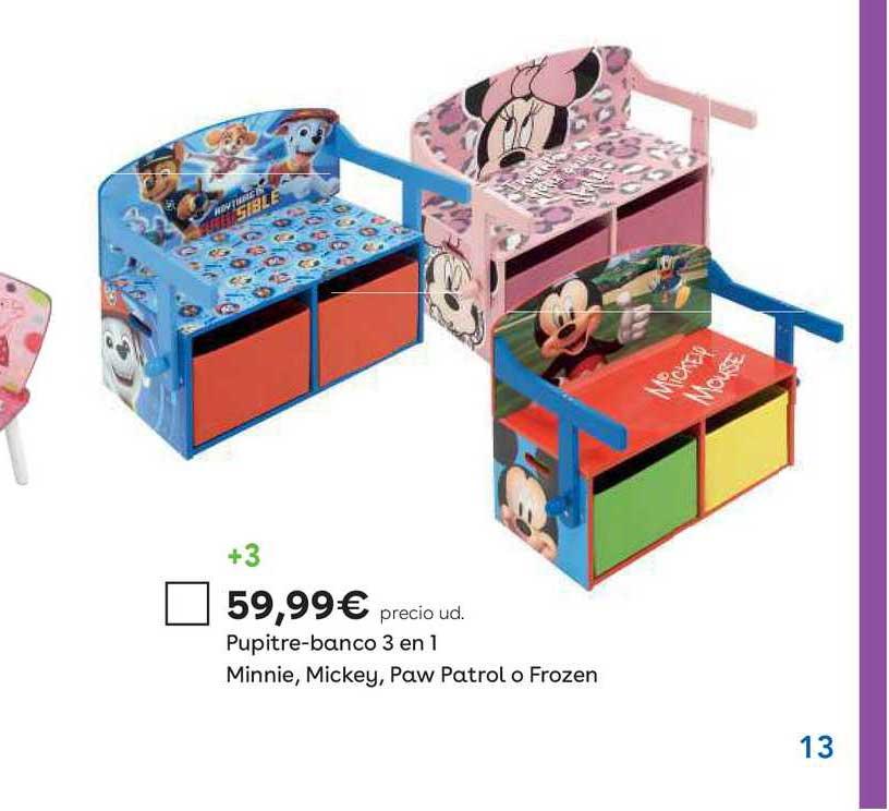 ToysRUs Pupitre Banco 3 En 1 Minnie Mickey Paw Patrol O Frozen