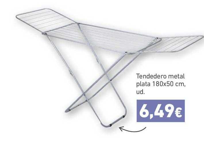 HiperDino Tendedero Metal Plata 180 X 50 Cm, Ud