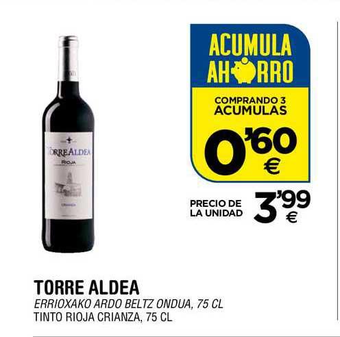 BM Supermercados Torre Aldea Tinto Rioja Crianza, 75 Cl