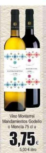 Froiz Vino Monterrei Mandamientos Godello O Mencia 75 Cl U