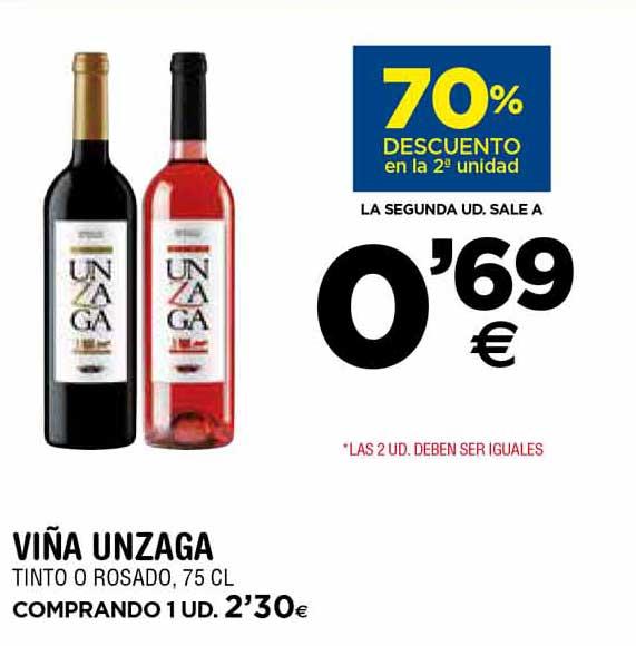 BM Supermercados 70% Descuento En La 2ª Unidad Viña Unzaga Tinto O Rosado, 75 Cl