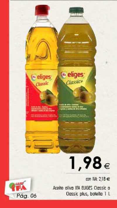 Cash Ifa Aceite Oliva Ifa Eliges Classic O Classic Plus, Botella 1 L