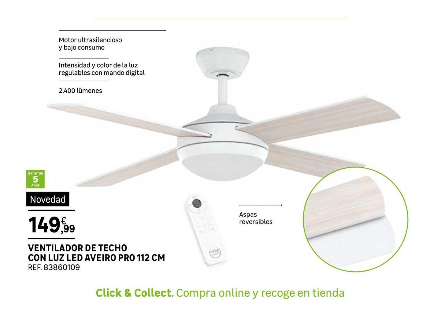 Leroy Merlin Ventilador De Techo Con Luz Led Aveiro Pro 112cm