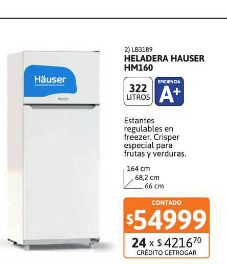 Cetrogar Heladera Hauser Hm160