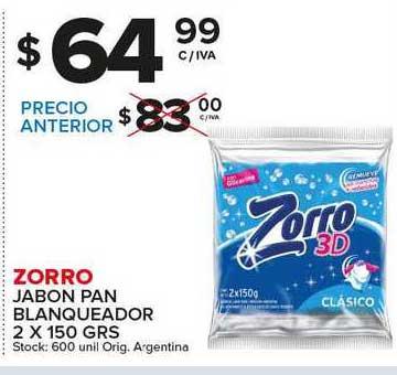 Carrefour Maxi Zorro Jabon Pan Blanqueador