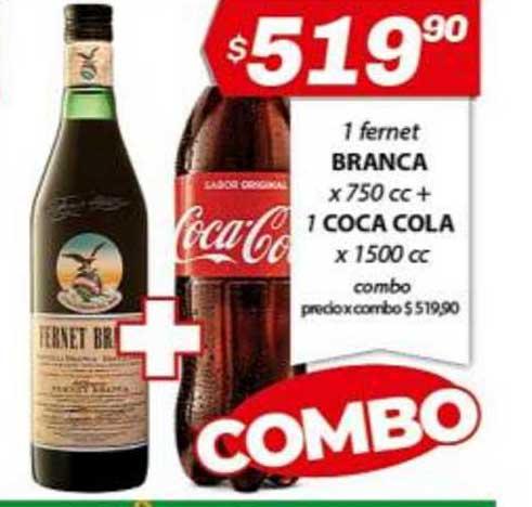 Almacor 1 Fernet Branca X 750 Cc + 1 Coca Cola X 1500 Cc
