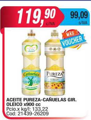 Maxiconsumo Aceite Pureza-Cañuelas Gir. Oleico X 900 Cc