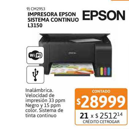 Cetrogar Impresora Epson Sistema Continuo L3150