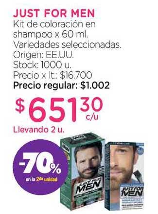 Farmacity Just For Men Kit De Coloración En Shampoo -70% En La 2da Unidad