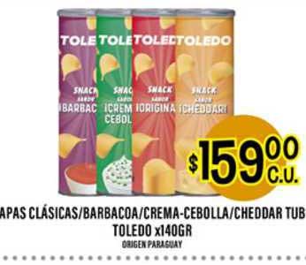 Supermercados Toledo Apas Clásicas Barbacoa Crema-cebolla Cheddar Tub Toledo