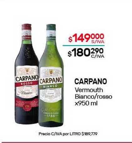 Nini Mayorista Carpano Vermouth Bianco Rosso