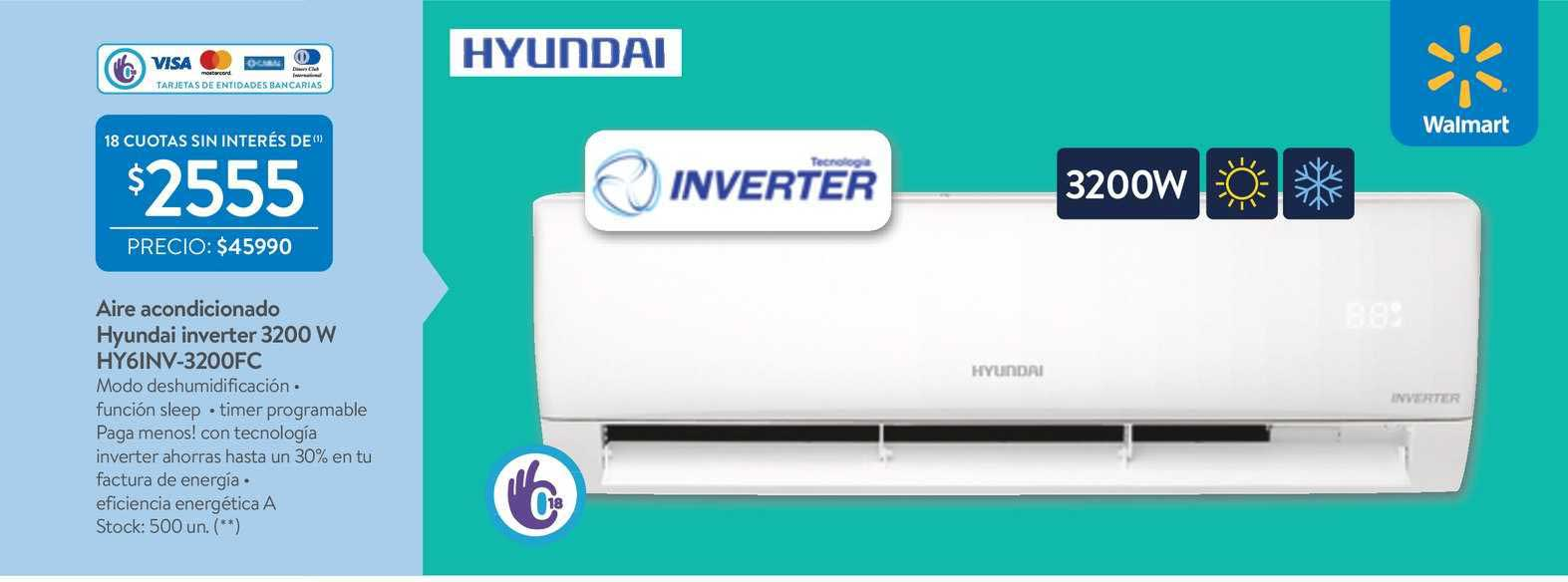 Walmart Aire Acondicionado Hyundai Inverter 3200 W
