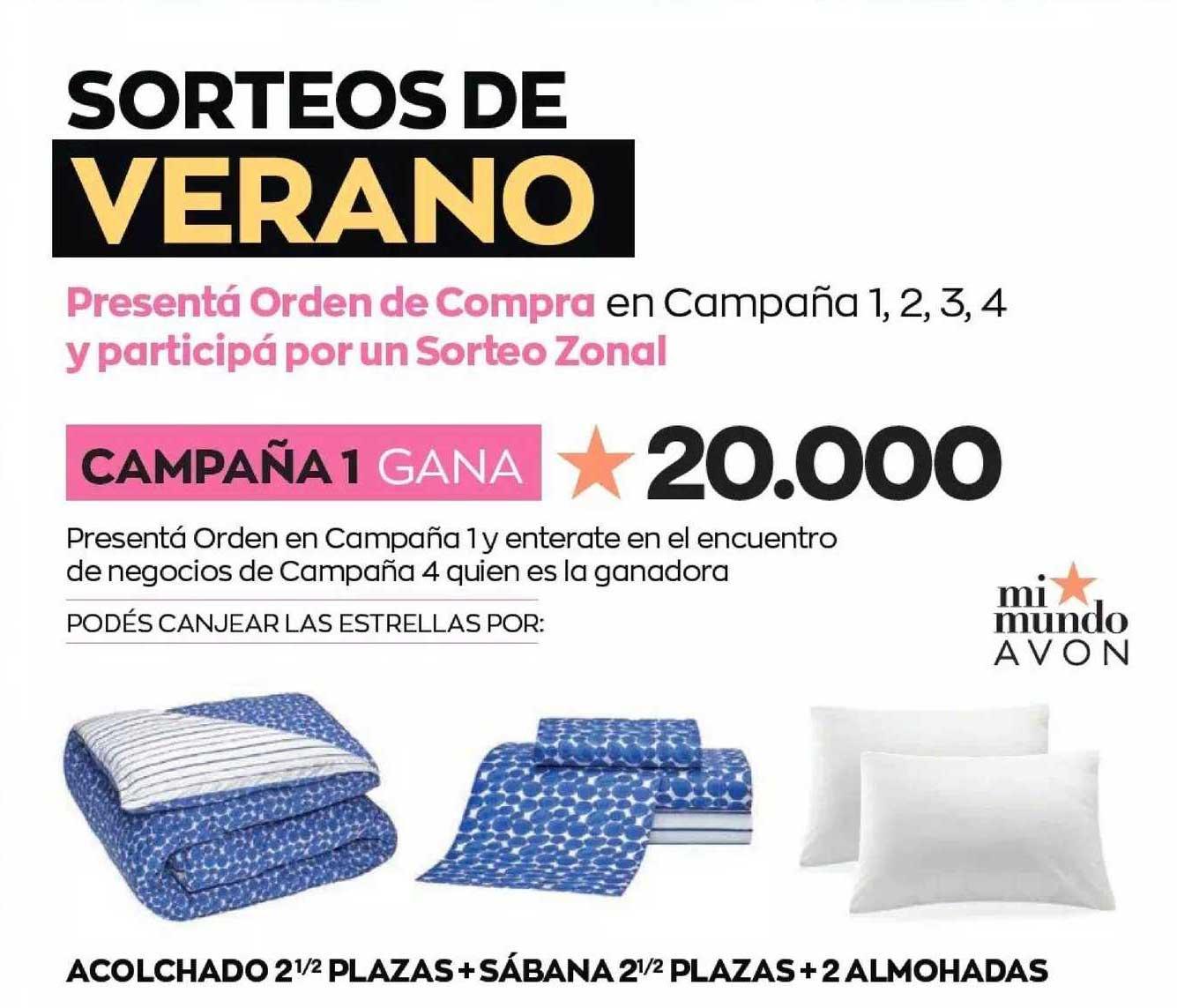 Avon Acolchado 2 1-2 Plazas + Sábanas 2 1-2 Plazas + 2 Almohadas