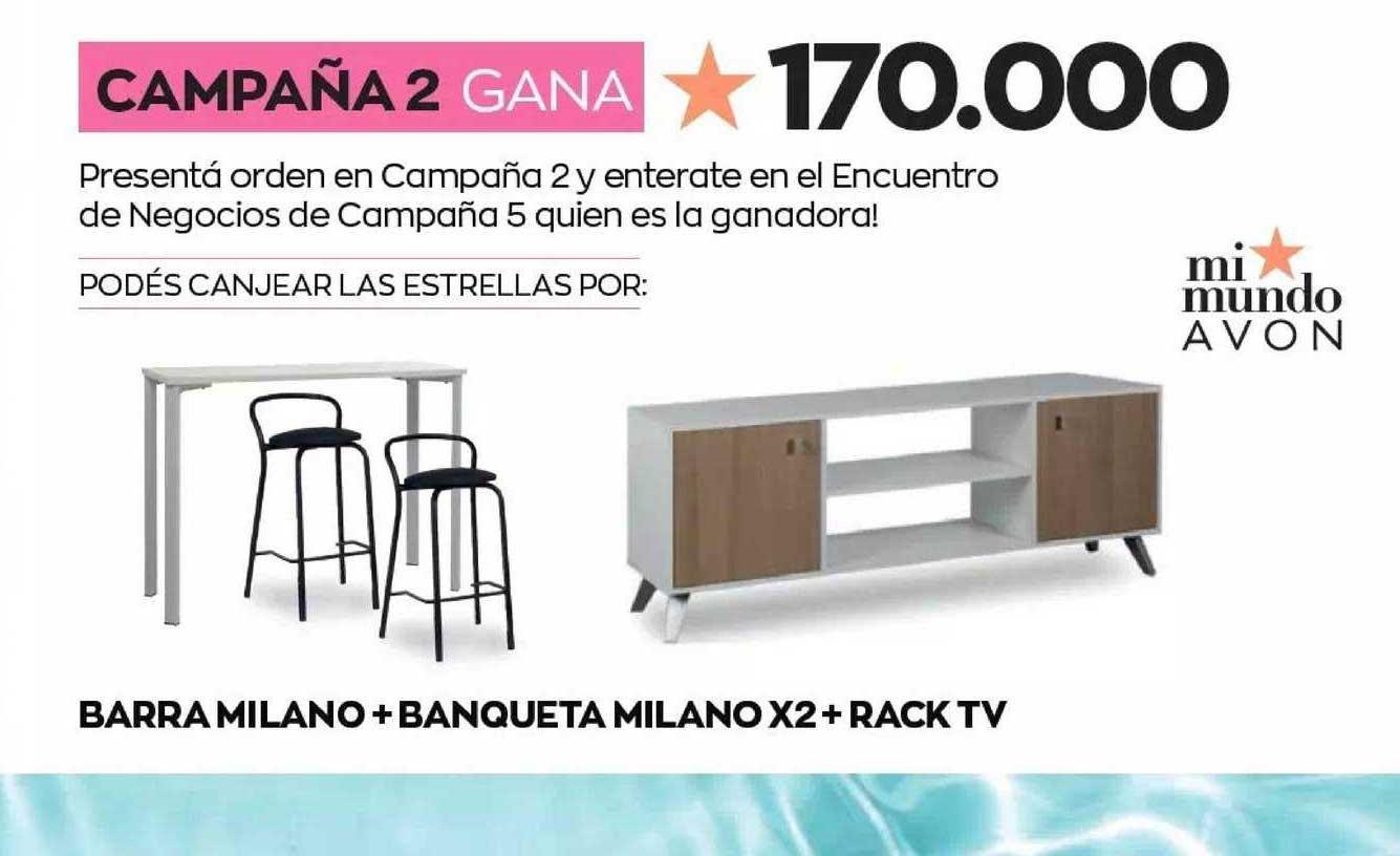 Avon Barra Milano + Banqueta Milano X2 + Rack TV