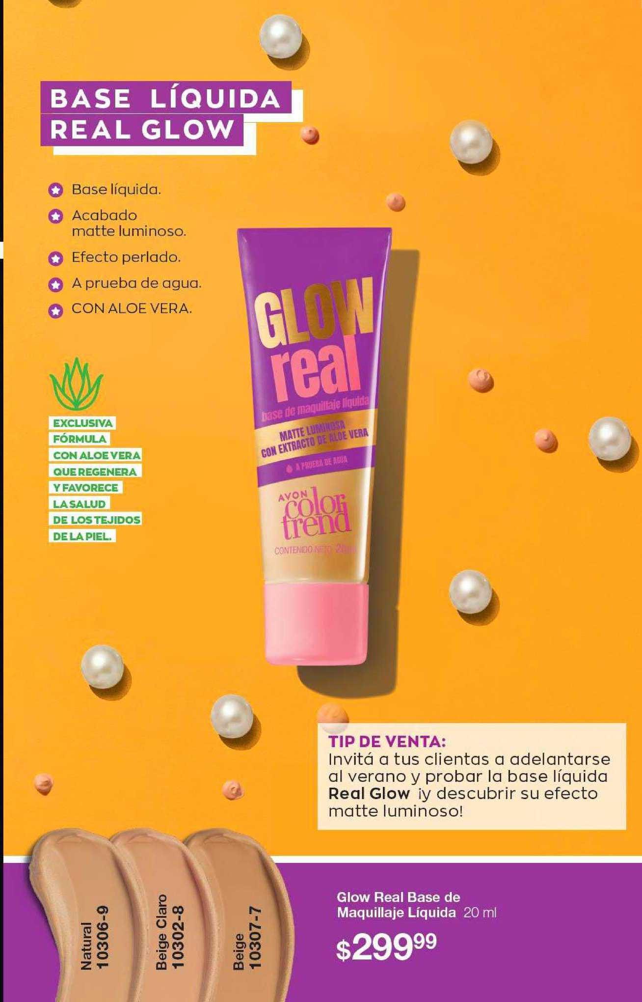 Avon Glow Real Base De Maquillaje Líquida