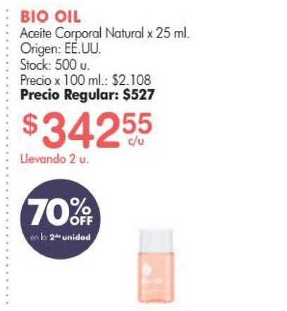 Simplicity Bio Oil Aceite Corporal Natural 70% Off En La 2da Unidad