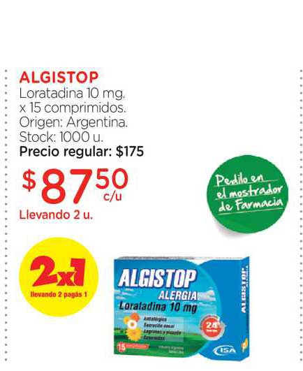 Farmacity Algistop Loratadina 10 Mg. X 15 Comprimidos