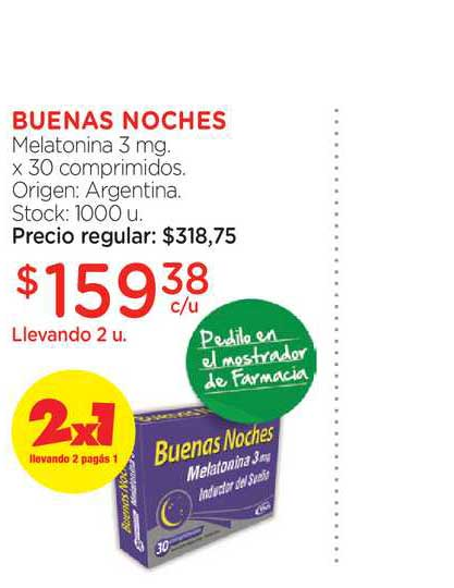 Farmacity Buenas Noches Melatonina 3 Mg. X 30 Comprimidos