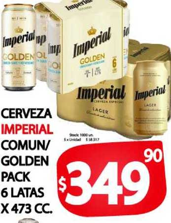 Supermercados Mariano Max Cerveza Imperial Comun- Golden Pack 6 Latas X 473 CC.