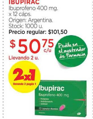 Farmacity Ibupirac Ibuprofeno 400 Mg. X 12 Cáps.