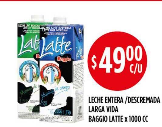 Supermercados Toledo Leche Entera -Descremada Larga Vida Baggio Latte X 1000 CC