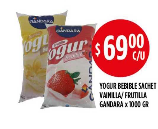 Supermercados Toledo Yogur Bebible Sachet Vainilla- Frutilla Gandara X 1000 GR