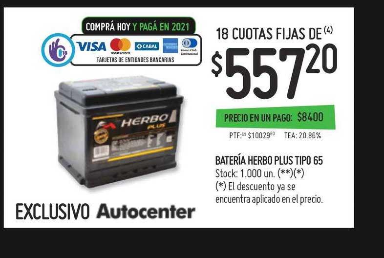 Walmart Batería Herbo Plus Tipo 65