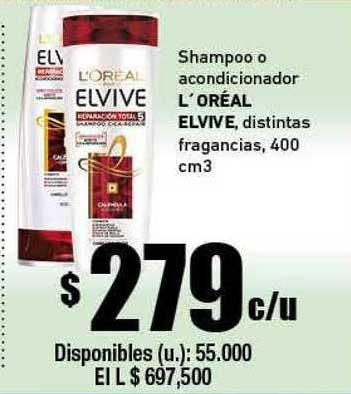Cooperativa Obrera Shampoo O Acondicionador L'oréal Elvive Distintas Fragancias