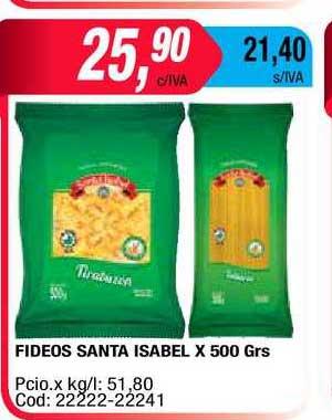 Maxiconsumo Fideos Santa Isabel X 500 Grs