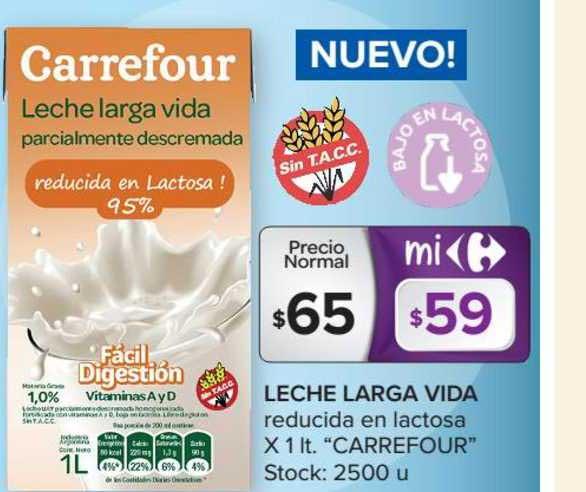 Carrefour Market Leche Larga Vida Reducida En Lactosa X 1lt.