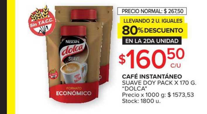 Carrefour Market Café Instantáneo Suave Doy Pack X 170 G.