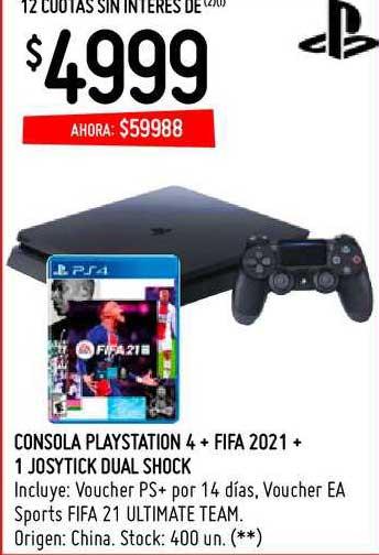 Changomas Consola Playstation 4 + Fifa 2021 + 1 Joystick Dual Shock