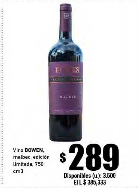 Cooperativa Obrera Vino Bowen, Malbec, Edición Limitada