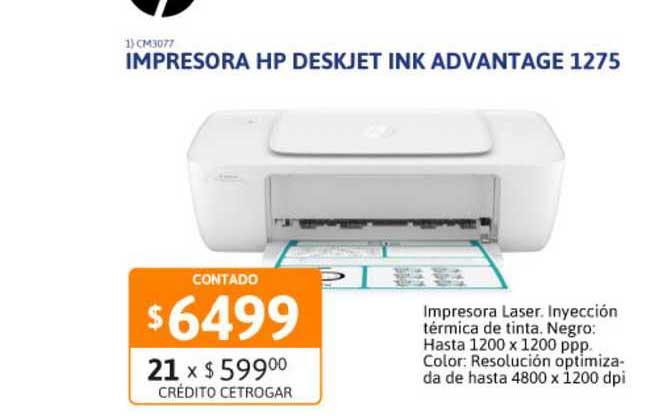 Cetrogar Impresora HP Deskjet Ink Advantage 1275