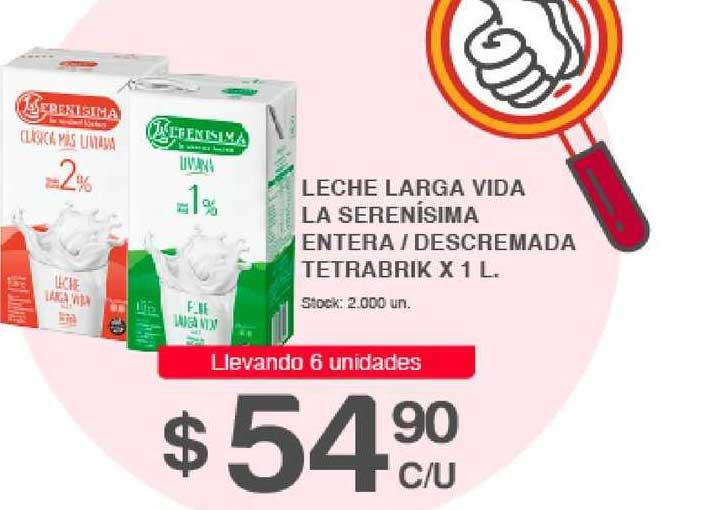 Supermercados Tadicor Leche Larga Vida La Serenísima Entera - Descremada Tetrabrik X 1 L.