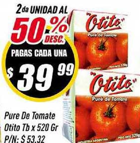 Supermercados Comodin Pure De Tomate Otito Tb X 520 Gr