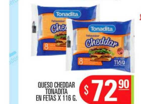 Supermercados Caracol Queso Cheddar Tonadita En Fetas X 116 G.