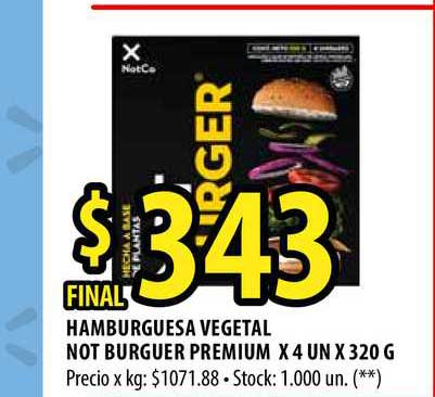 Punto Mayorista Hamburguesa Vegetal Not Burguer Premium