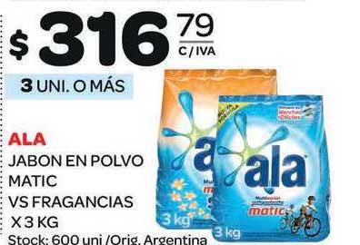 Carrefour Maxi Ala Jabon En Polvo Matic VS Fragancias X 3 Kg