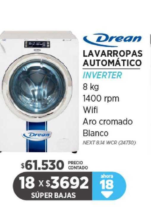 Genesio Hogar Drean Lavarropas Automático Inverter 8 Kg 1400 Rpm Wifi Aro Cromado Blanco