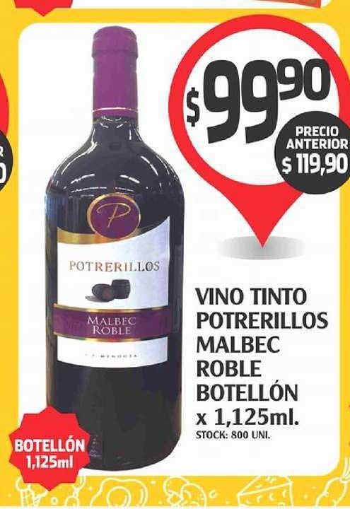 Supermercados Malambo Vino Tinto Potrerillos Malbec Roble Botellón X 1,125 Ml.