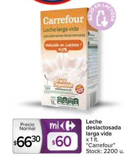 Carrefour Express Leche Deslactosada Larga Vida X 1 Lt.