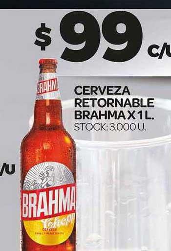 Supermercados DIA Cerveza Retornable Brahma X 1 L.