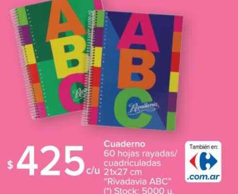 Carrefour Cuaderno Cuadriculadas Rivadavia Abc